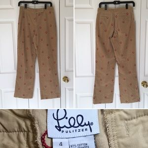 Corduroy pant all over horse shoe embroidery SZ4